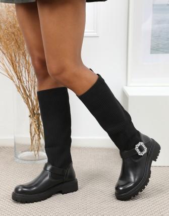 Bottes cavalières effet chaussettes