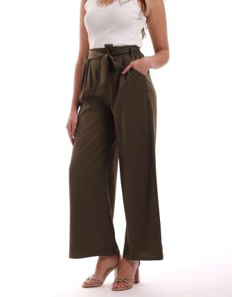 Pantalon large ceinturée - Kaki