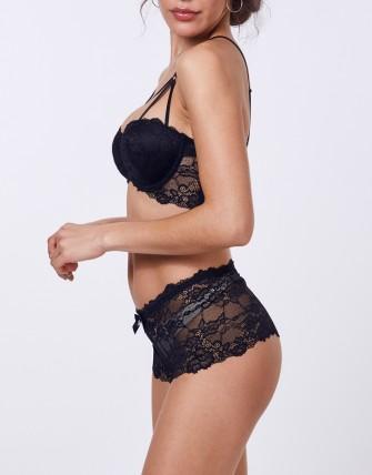 Ensemble lingerie avec shorty à dentelle - Noir
