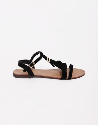 Sandales plates avec franges - Noir