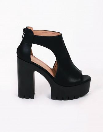 Bottines peep toes à plateaux crantée