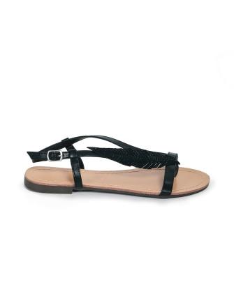 Sandales plates à feuille en strass