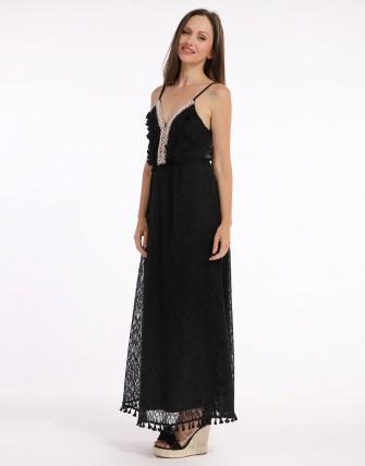 Robe longue dentelle - Noir