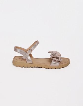 Sandales semelles confort à noeud - Or