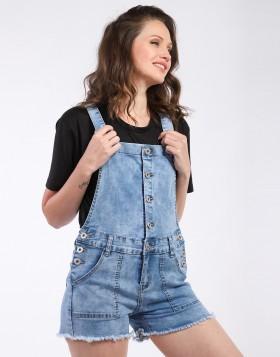 Salopette short jeans