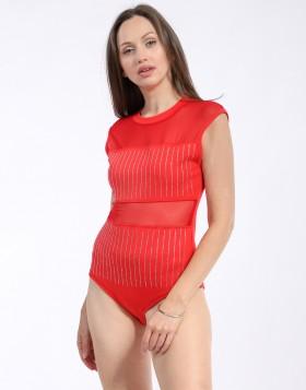 Body Femme avec empiècements résille strass