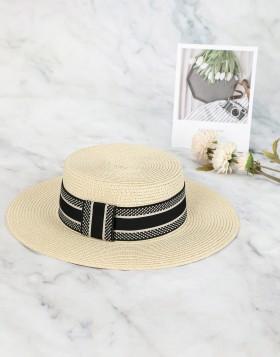 Chapeau en paille avec ruban